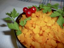 Carrots diced in a bowl. With parsley Stock Photography