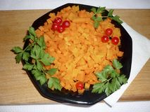 Carrots diced in a bowl. With parsley Royalty Free Stock Photography