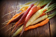 Carrots. Fresh Colorful Carrots On Dark Rustic Background Royalty Free Stock Images
