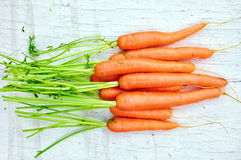 Carrots. Fresh and raw carrots on rustic background Royalty Free Stock Image