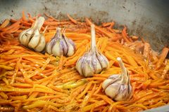 Carrots and garlic are roasted in a large frying pan on the street to prepare a traditional Asian dish of pilaf. Close-up royalty free stock photos