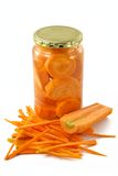 Carrots in glass container Stock Photos
