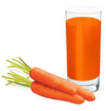 Carrots and glass of fresh carrots juice on white background. Royalty Free Stock Images