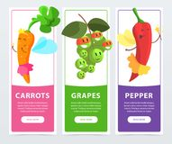Carrots, grapes, peppers banners set, funny fruits and vegetables characters cartoon vector elements for website or. Mobile app with sample text Stock Image