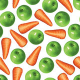 Carrots and green apples pattern seamless Stock Photography