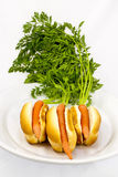 Carrots in a hotdog bun Royalty Free Stock Photo