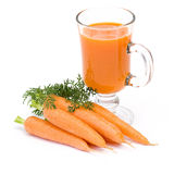 Carrots juice and fresh carrots Stock Photos