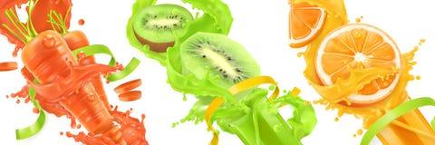 Carrots, Kiwi, Orange Splash Of Juice. 3d Vector Icon Se Stock Image