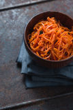 Carrots in Korean on a metal table stock photo