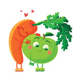Carrots in love with the apple. Vegetables hug. Stock Photo