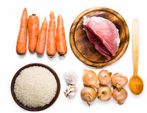 Carrots, meat, onions and rice Royalty Free Stock Photography