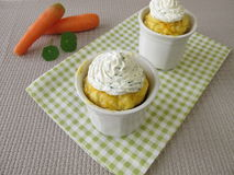 Carrots mug cake with cream cheese Stock Images