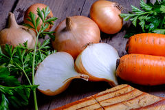 Carrots and onions Stock Photos