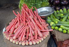 Carrots and other vegetables in Delhi street market Royalty Free Stock Image