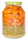 Carrots and Peas in a glass Stock Image