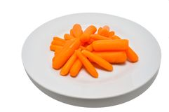 Carrots on a Plate. Fresh and Healthy Organic Carrots Sticks on a white Plate against a white background ready for snacking Stock Photography