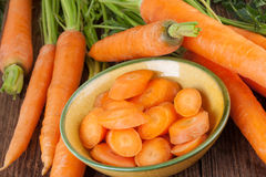 Carrots prepared for cooking Royalty Free Stock Photo