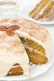 Carrots and pumpkin cake with coffee cream in a cut Stock Photos