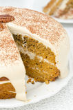 Carrots and pumpkin cake with coffee cream in a cut Stock Images