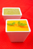 Carrots puree with parsley and spinach Stock Photos