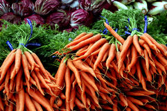 Carrots and Radicchio. For sale at a farmer's market Royalty Free Stock Photography