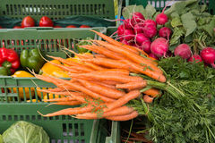 Carrots, radish and other vegetables for sale on a market. Carrots, radish and other fresh ripe vegetables for sale on a market Royalty Free Stock Photo