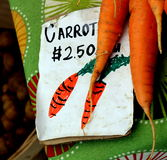 Carrots for Sale. Freshly-harvested carrots for sale at local farmer's market Stock Images