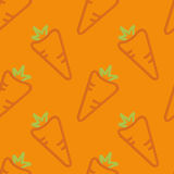 Carrots Seamless Pattern Kid's Style Hand Drawn. Hand drawn seamless pattern orange background carrots outline Stock Image