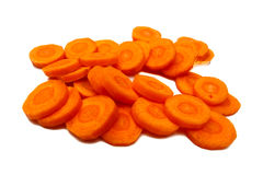 Carrots sliced in circles, isolated. Royalty Free Stock Images