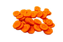 Carrots sliced in circles, isolated. Stock Image