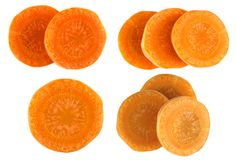 Carrot slice isolated on white. Carrots sliced isolated on a white background Stock Image