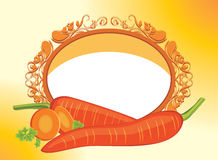 Carrots with slices in the decorative frame. Illustration Stock Image