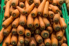 Carrots in supermarket stock images