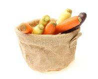 Carrots of various colors in a jute bag Stock Image