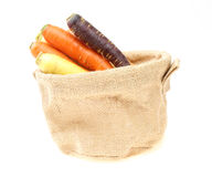 Carrots of various colors in a jute bag Royalty Free Stock Photo