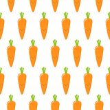 Carrots, vector seamless pattern with cute vegetable characters on white background stock illustration