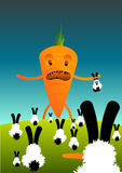 Carrots Vs Rabbits. Illustration of a very upset carrot on a hill of rabbits Royalty Free Stock Images