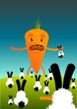 Carrots Vs Rabbits. Illustration of a very upset carrot on a hill of rabbits vector illustration
