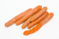 Carrots on a white background. Vegetables fresh orange. Vegetabl. Es in a group on a white background Royalty Free Stock Photos