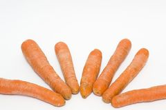 Carrots on a white background. Vegetables fresh orange. Vegetabl. Es in a group on a white background Stock Images