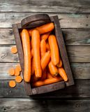 Carrots in a wooden box stock photo