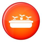 Carrots in a wooden pot icon, flat style Royalty Free Stock Image