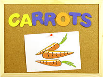 Carrots word on a corkboard Stock Photos