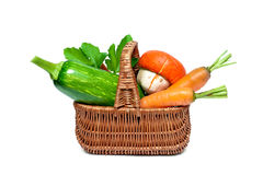 Carrots, zucchini and pumpkin in the basket Stock Photo