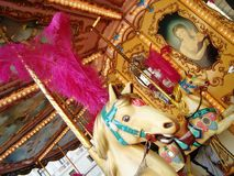 Carrousel. With horses, pink feathers and paintings Stock Photography