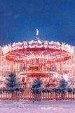 Carrousel bij de Markt van het Nieuwjaar op Rood Vierkant De winter stock foto