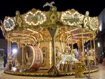 Carrousel bij nacht Royalty-vrije Stock Foto's