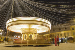 Carrousel bij nacht Stock Afbeelding