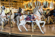 Carrousel. A colorful carrousel as part of a merry-go-around for children at entertainment area Stock Photos