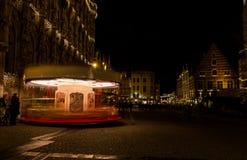 Carrousel in de nacht Royalty-vrije Stock Afbeeldingen